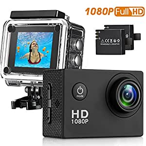 Sasrl Action Camera , 12MP 1080P 2 Inch LCD Screen , Waterproof Sports Cam 120 Degree Wide Angle Lens , 30m Sport Camera DV Camcorder With with 2 Rechargeable Batteries