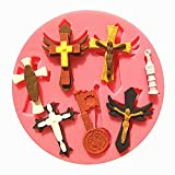sudarathkshop Jesus Christ Cross Silicone Fandant Mold Chocolate Polymer Clay Mould
