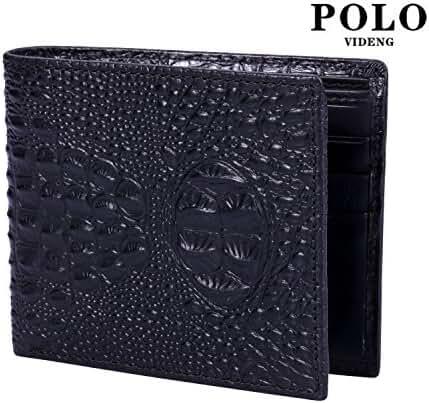 VIDENG POLO WC20 RFID Blocking Crazy Horse Genuine Leather Slim Bifold Wallet for Men