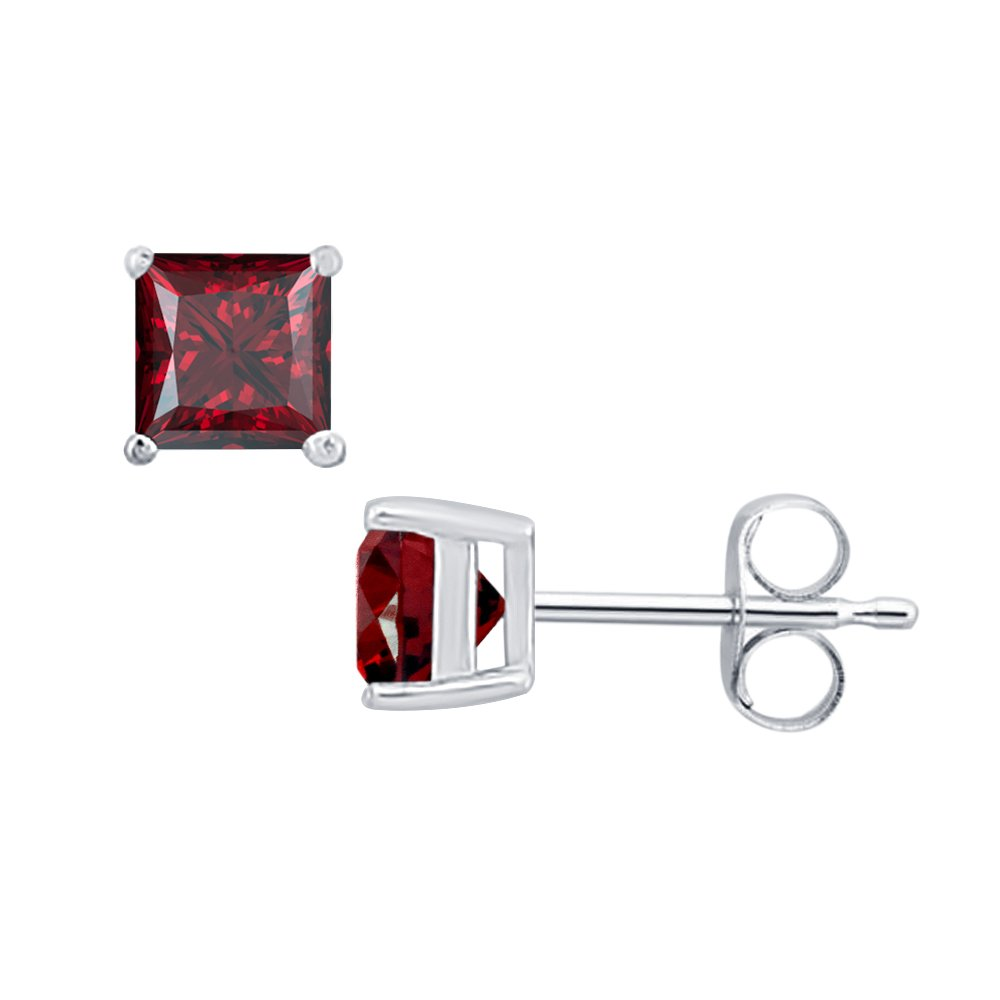 3MM TO 10MM tusakha Fancy Party Wear Princess Cut Red Garnet Solitaire Stud Earrings 14K White Gold Over .925 Sterling Silver For Womens /& Girls