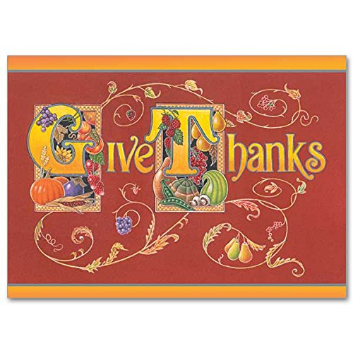 (Give Thanks Thanksgiving Deluxe Holy Greeting Religious Card with Embossed Envelope Glory Be to)