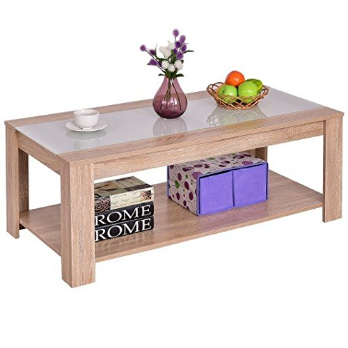 Wood Particle board & toughened glass Coffee Table With Ebook by MRT SUPPLY