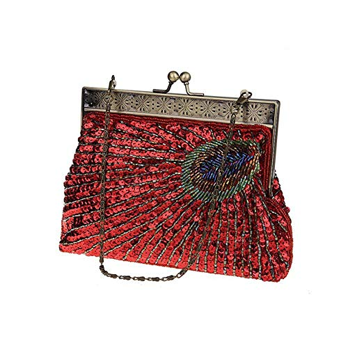 Sac À Main Soirée Pochette - Clutch Paillettes Handbag Envelop Luxeur Fait À La Main pour Femmes Retro/Banquet / Dinner/Wedding / Party/Soirée Rouge