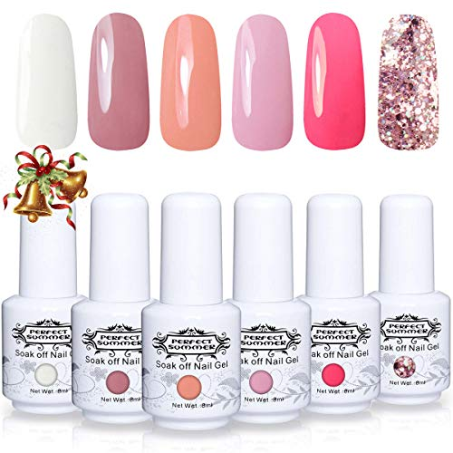 Perfect Summer Soak Off Gel Nail Polish - UV LED Gel Polish Nail Varnish Gift Kits, Pack of 6 Coral White Pink Colors Autumn Winter Trend Christmas Gift 8ML #005