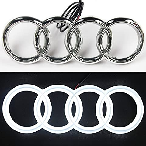 JetStyle Audi A3 A4 A5 A6 LED Emblem, Front Car Grill Badge, Auto Illuminated Logo, Glowing Rings, Lights DRL Daytime Running Lights White - Drive - Audi A6 Light