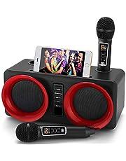 Karaoke-machine, draagbaar PA-luidsprekersysteem met 2 draadloze microfoon voor thuisfeest, vergadering, bruiloft, kerk, picknick, outdoor/indoor