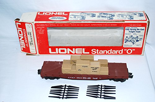 Santa Fe Flat Car (Lionel 9823 Santa Fe Flat car + stakes crates Standard O DieCast spr trucks ATSF)