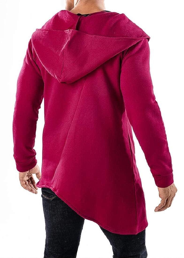 UNINUKOO Unko Mens Fashion Oblique Zipper Sport Long Sleeve Hoodies Sweatshirts