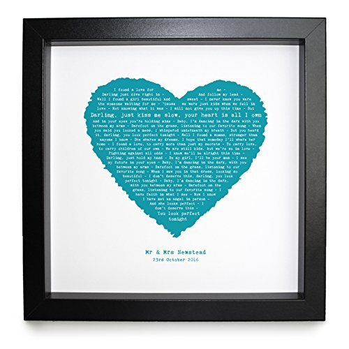 Ed Sheeran, Perfect, Personalised Framed Print Heart - Ideal Wedding Anniversary Personalized Romantic Gift (Personalised Gifts Photo)