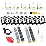 Theresa Hay - Kit de accesorios de repuesto para iRobot Roomba 800 900 Series 890 860 880 870 980 960 accesorios de aspiradora, con 2 extractores 10 filtros 10 cepillos laterales 5 tornillos 1 herramienta de limpieza