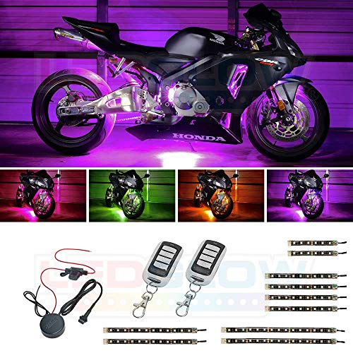 LEDGlow 10pc Advanced Million Color LED Flexible Motorcycle Lighting Strip Kit - 102 LEDs - Waterproof Control Box - 2 Wireless Remotes ()