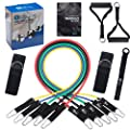 Resistance Band Set Include 5 Stackable Exercise Bands with Waterproof Carrying Case, Door Anchor Attachment, Legs Ankle Straps,For Resistance Training, Physical Therapy, Home Workouts, Yoga, Pilates