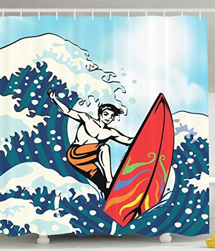 Anime Shower Curtain Surf Cabana Hawaii Surfboard Gifts for