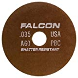 Falcon C60QBC Resinoid Bonded Shatter Resistant Tool Room Reinforced Abrasive Cut-off Wheel, Type 1, Silicon Carbide, 5/8'' Hub, 6'' Diameter x 0.035'' Thickness, 60 Grit  (Pack of 2)