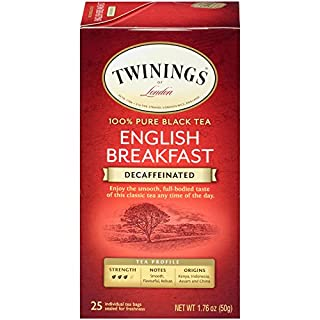 Twinings of London Decaffeinated English Breakfast Black Tea Bags, 25 Count (Pack of 6)