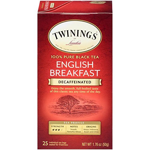 (Twinings of London Decaffeinated English Breakfast Black Tea Bags, 25 Count (Pack of 6))