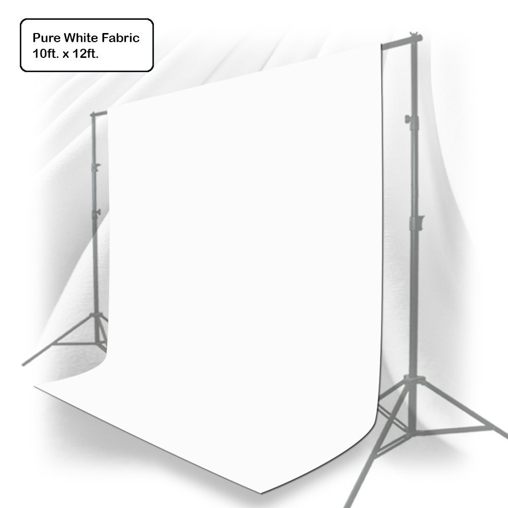 Julius Studio 10 x 12 ft. White Chromakey Photo Video Studio Fabric Backdrop, Background Screen, Pure White Muslin, Photography Studio, JSAG208 by LimoStudio