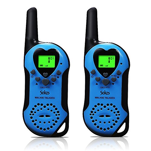 Walkie Talkies for Kids, 22 Channel Child Walkie Talkies 2 Way Radio 3 Miles (Up to 5Miles) FRS Handheld Walkie Talkie for Kids (Pair) (Blue)