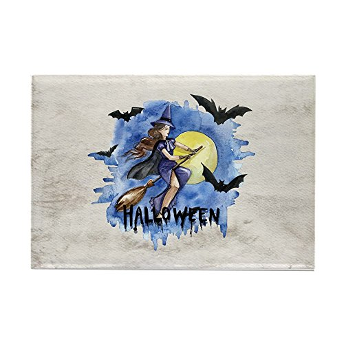 (Rectangle Magnet Halloween Witch Riding Broom Bats )