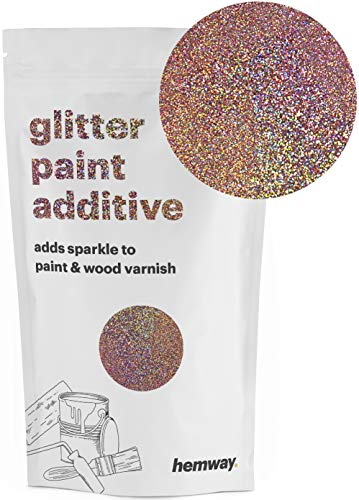- Hemway | Glitter Paint Additive 110g/3.5oz Acrylic Latex Emulsion Water Based Paints Interior/Exterior Wall, Ceiling, Wood, Metal, Varnish, Dead flat, Matte (Rose Gold Holographic)