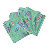 Roostery Fish Linen Cotton Dinner Napkins Sea Dance by Aftermyart Set of 4 Cotton Dinner Napkins Made