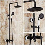 GOWE Ceramic Style Oil Rubbed Bronze Finished 8'' Rainfall Shower Head Bathroom Wall Mounted With Handheld Shower Faucet Set