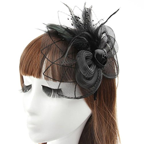 [Fascinator Hair Clip Head Hoop Feather Rose Flower Derby Cocktail Party Wedding Women Black 2] (1920s Flapper Hairstyles)