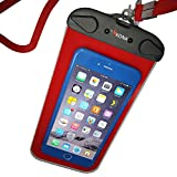 Kona [RedTide] Waterproof Case - Heavy-Duty Double Seam Universal Waterproof Phone Pouch / Cell Phone Dry Bag To 100ft Depth- Red