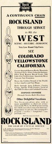 1931 Ad Chicago Rock Island & Pacific Railroad Logo Traveling Vacation Railway - Original Print Ad (Logo Railroad)