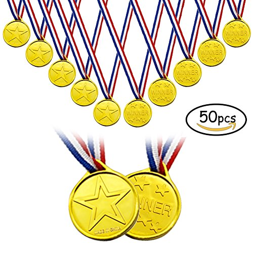 Jomass Plastic Gold Medals 50 Pack, Kids Winner Award Medals With Ribbon,Star Medals Party Sports Day Bag Prize Awards Toys