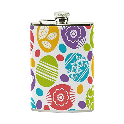 AHOMY Happy Easter Colorful Egg Rabbit Flower Stainless Steel Hip Flask 8 OZ Leak Proof Liquor Flask with PU Leather Wrapped - Easter Egg Liquor Bottles