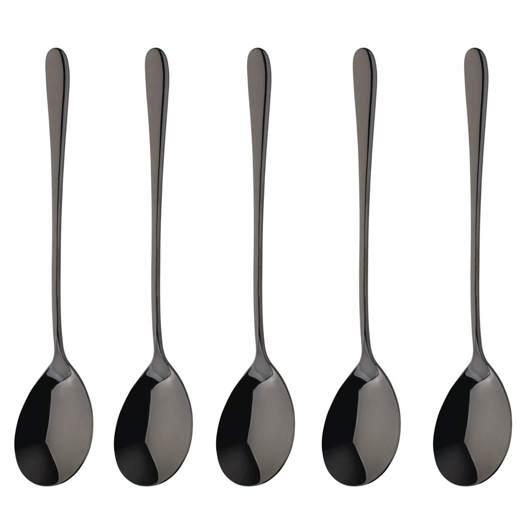 Black Dinner Spoon Set 5 Piece 18/10 Stainless Steel Korean Tableware Mirror Finish Dishwasher Safe 8.39 Inches