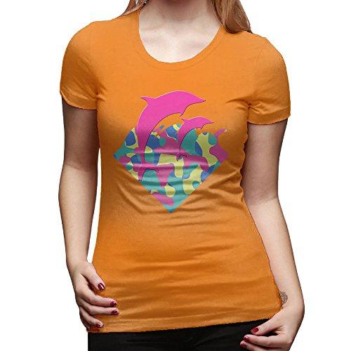 [Jonesseller Ladies Customize Tee Double Dolphin Design M Orange] (Ghana Costume For Boys)