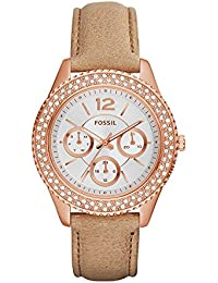 Womens ES3816 Stella Multifunction Leather Watch – Light Brown