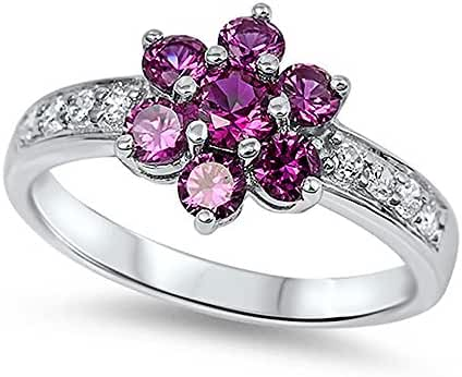 Sterling Silver Pink Red Cubic Zirconia & Clear CZ Flower Ring