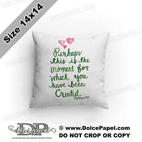 This Is Your Moment Esther 4:14 Bible Verse Green Custom Decorative Accent Reversible Throw Pillow Custom Designed