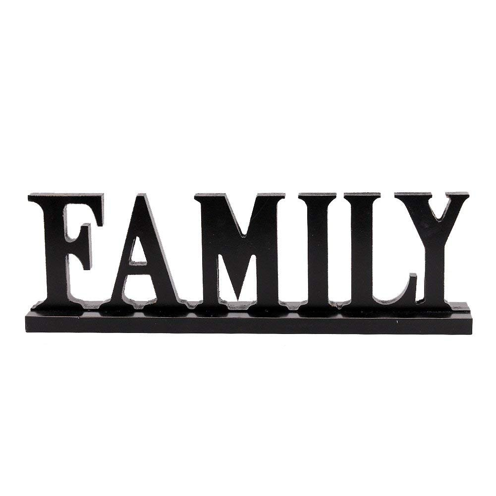 Grace Home Wood Family Tabletop Sign for Home Decor, Wooden Block Letters Family Rustic Freestanding Words House Decoration
