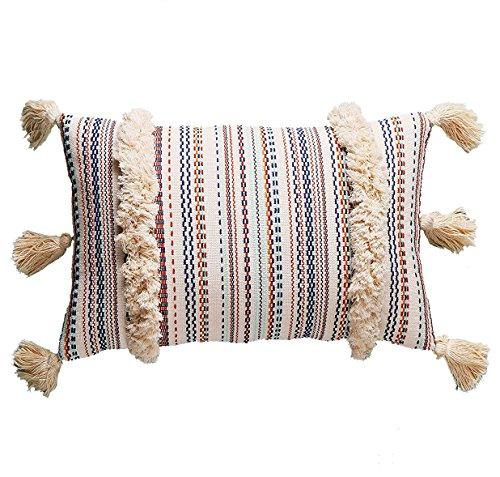 (Flber Lumbar Throw Pillow Decorative Pillows Tassel Textured Woven Sham,12