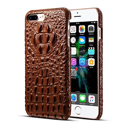 iPhone 7 Plus/ iPhone 8 Plus Genuine Leather (Crocodile Texture)Case Cover,Flying Horse Real Leather Alligator Skin Texture[Ultra Slim Handmade]Back Cover for iPhone 8 Plus/iPhone 7 ()