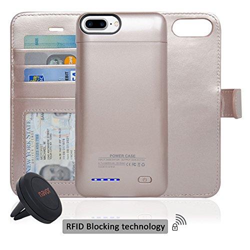 Navor RFID Folio Wallet Magnetic Detachable Power Battery Case 4200mAh for iPhone 7 Plus / 6 Plus / 8 Plus [5.5 Inch] - Rose Gold