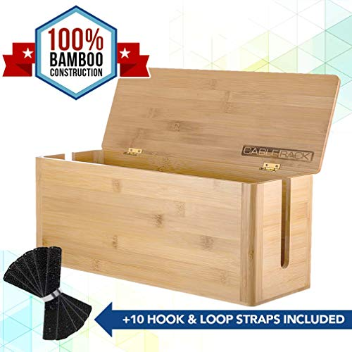 CableRack Bamboo Large Cable Management Box for Amazing Desk Cable Management and Power Strip Box Solutions ()