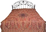 Rosewood Reversible Jamawar Bedspread from Amritsar with Woven Paisleys - Pure Cotton Wool