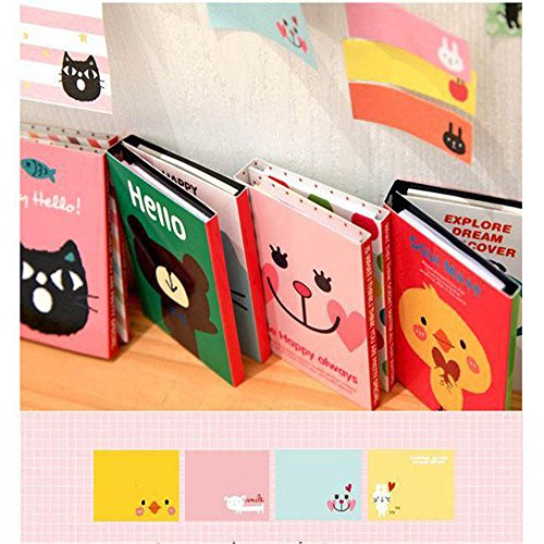 ARCTURUS 4PCS Cute Animals Sticker Post It Bookmark Point Marker Memo Flags Sticky - App Face My Shape Find