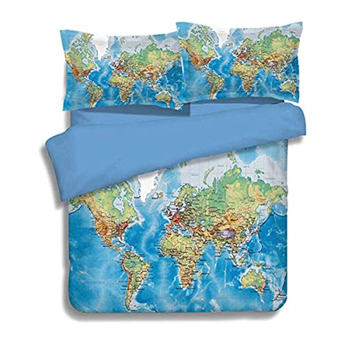 3D Printed World Map Bedding Set for Kids Children ,Blue Ocean and Yellow Land Duvet Cover with Zipper Closure,3 Pieces Soft Microfiber Blue Quilt Cover with 2 Pillowcases Queen Size 90