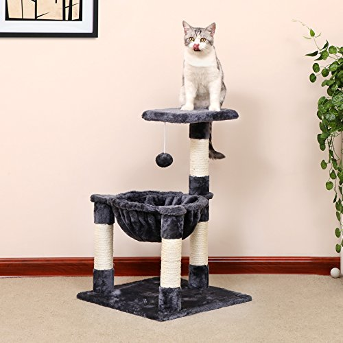 SONGMICS-Cat-Tree-Condo-House-with-Sisal-Scratch-Posts-Kitty-Furniture-Grey-UPCT68G