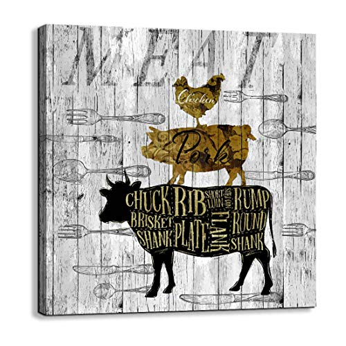 Canvas Wall Art for Kitchen Restaurant Wall Decoration Animal Theme Wall Decor Chicken Pig Cow Canvas Picture Modern Prints Artwork Ready to Hang for Rustic Country Farm Home Decor Size 14x14 a Piece