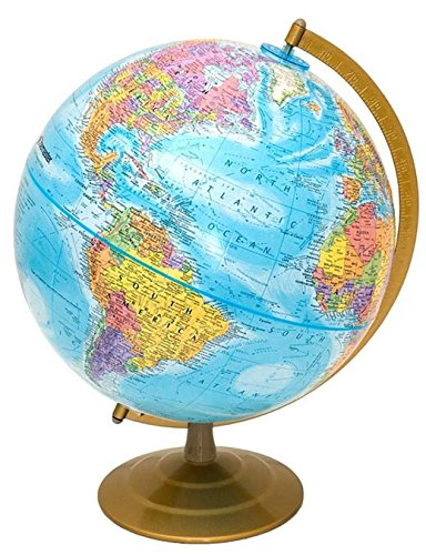 Globemaster 12'' World Globe, Bright Blue Finish - American Made Quality. Educational Globe - Over 5,000 Place Names. Raised Relief with Metal Base/Meridian, by J. Thomas by J. Thomas