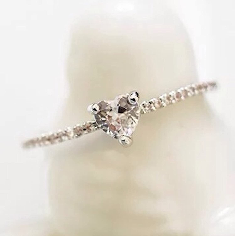 "Amazon Gieschen Jewelers ""White Heart"" 14K Rose White Gold"