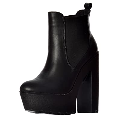 Onlineshoe Women's Ladies Chunky Cleated Sole Platform High Heel Chelsea  Ankle Boot Black Pu Uk7 -