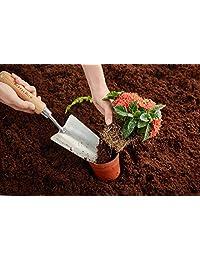 3 piezas de juego de herramientas de jardín de acero inoxidable con ergonómico mango de madera, pala/horquilla de jardinería y mano cultivador